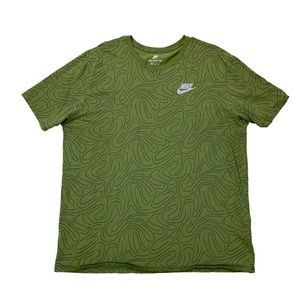 Nike Green All Over Print Patterned Tee Shirt XL